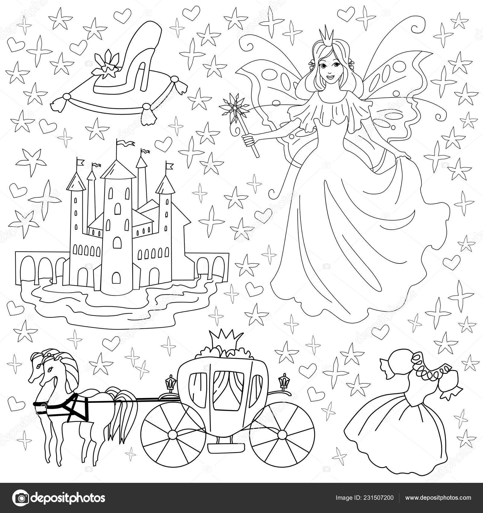 Fairy tale coloring page for kids. Vector illustration of ...