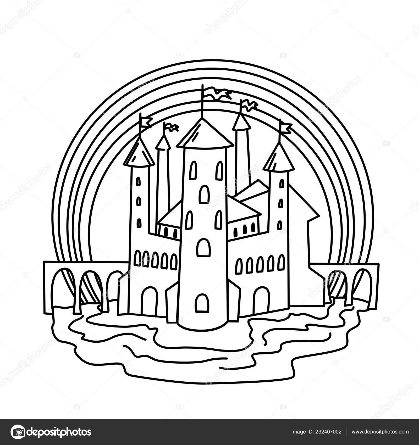 Kleurplaat Kasteel Vector Hand Getekende Illustratie