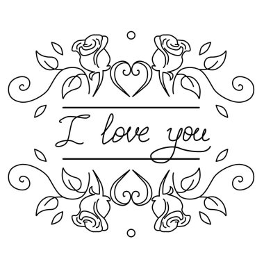 Words I love you hand drawn vector