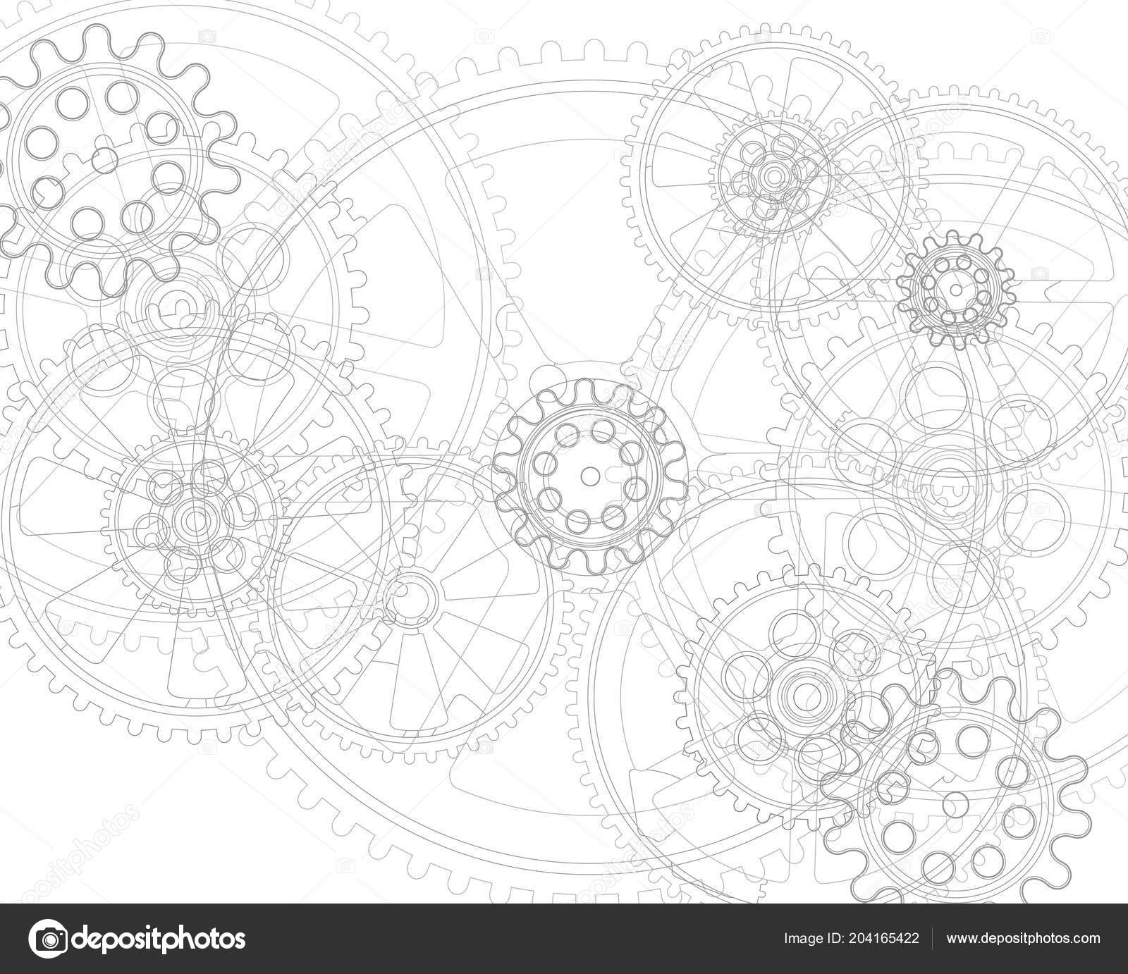 Kresleni Ozubenych Kol Bilem Pozadi Vektorove Ilustrace Klipart