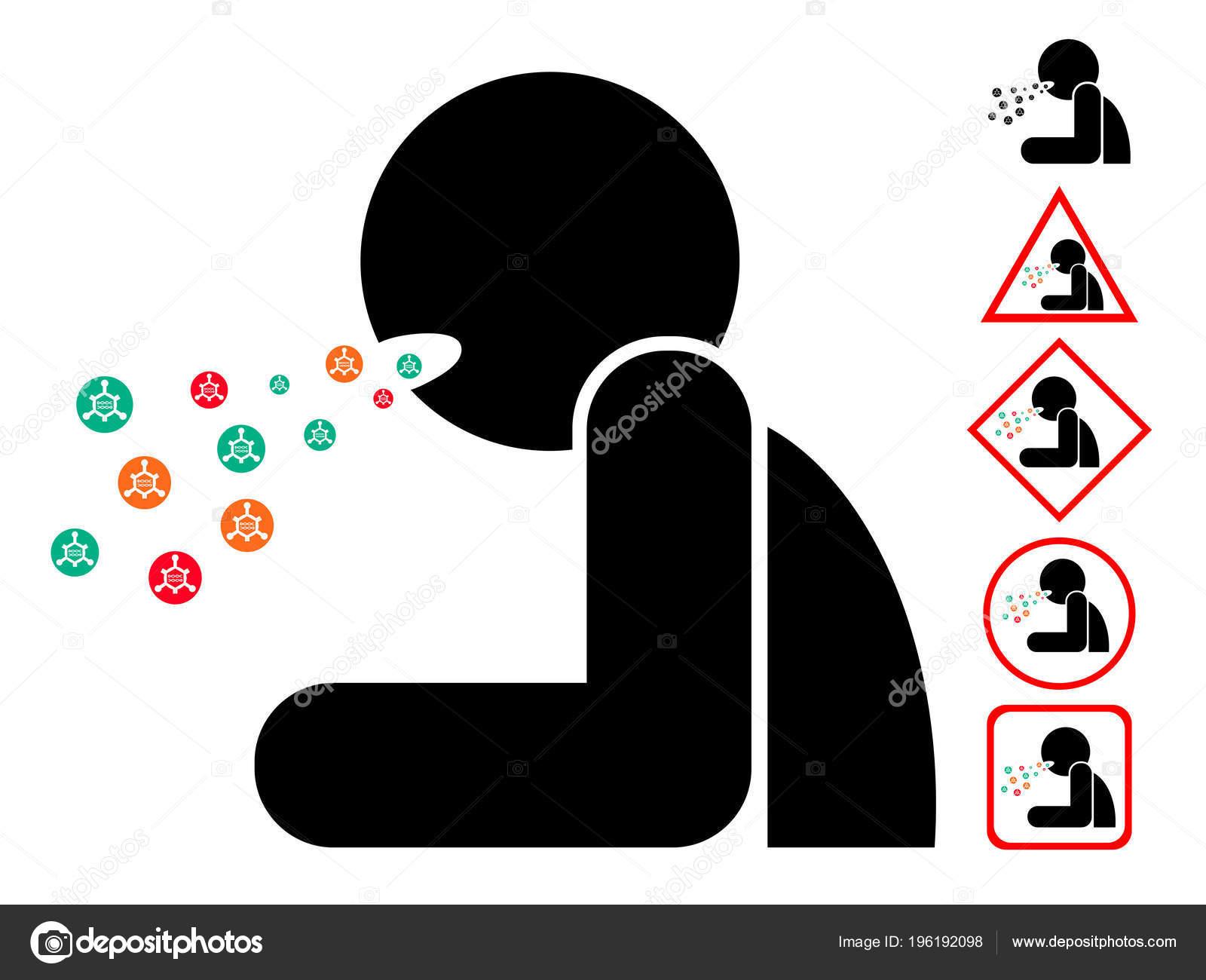 Hombre Con Virus Bacterias Icono Signo Símbolo Tos Cuadro ...