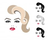 Fotografie Marilyn Monroe, grafický portrét, logo, podepsat, ikona, znak, symbol. Izolované obrázek