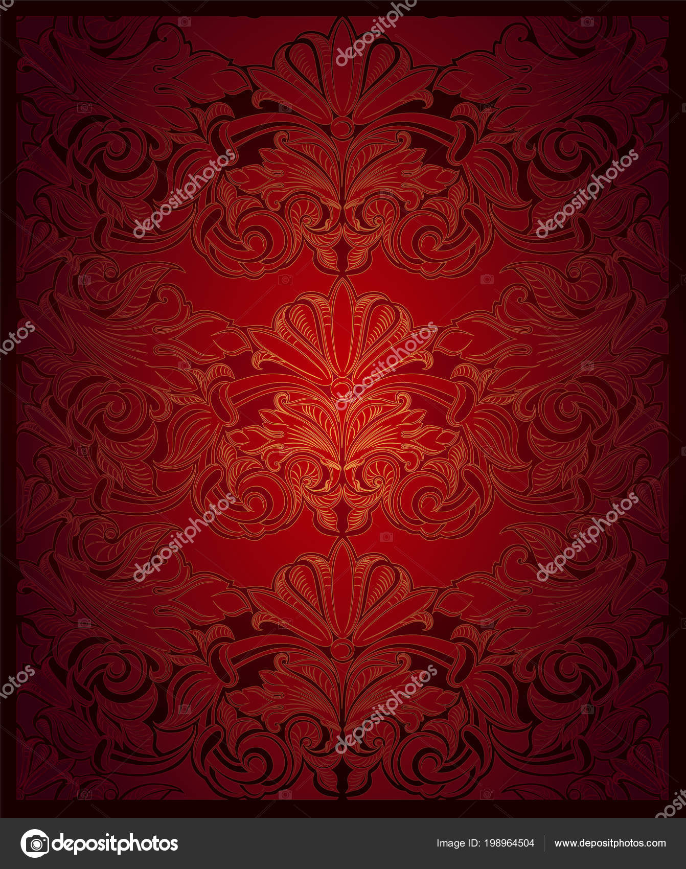 Royal Vintage Elegant Background Red Gold Classic Baroque Pattern Rococo Stock Vector