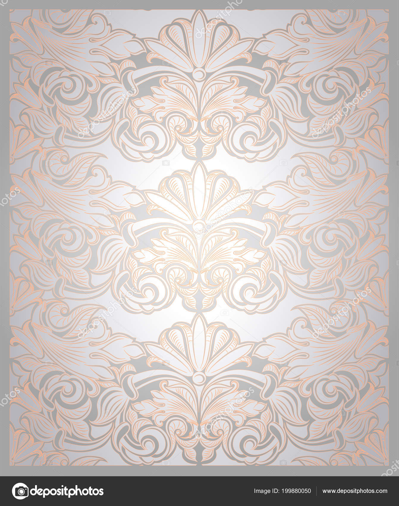 vintage vertical background pearl white gold classic baroque pattern rococo stock vector c xennya 199880050 depositphotos