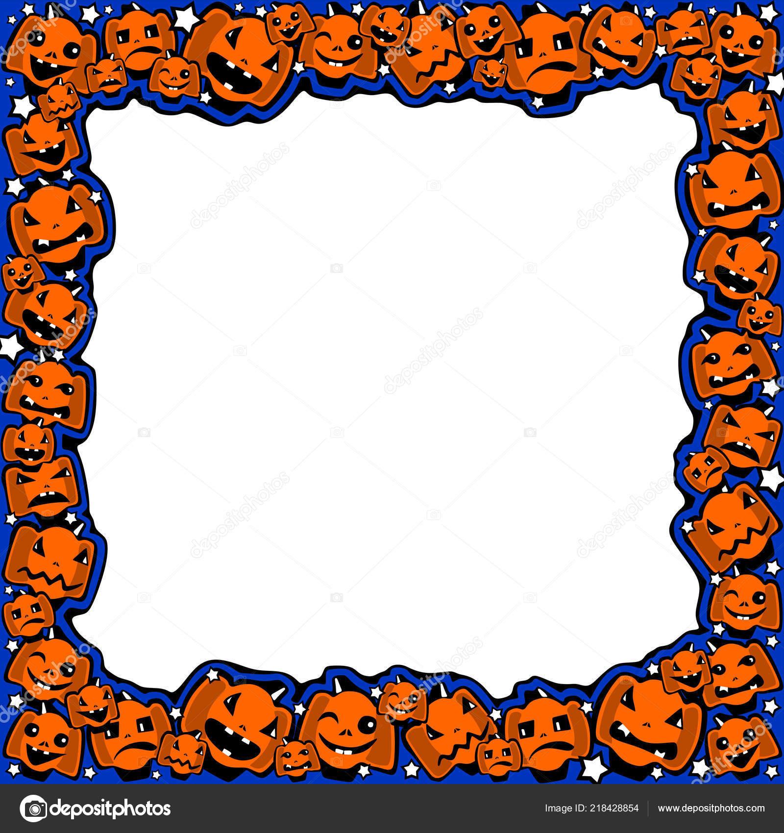 halloween frame pumpkins different emotions comical cartoon style
