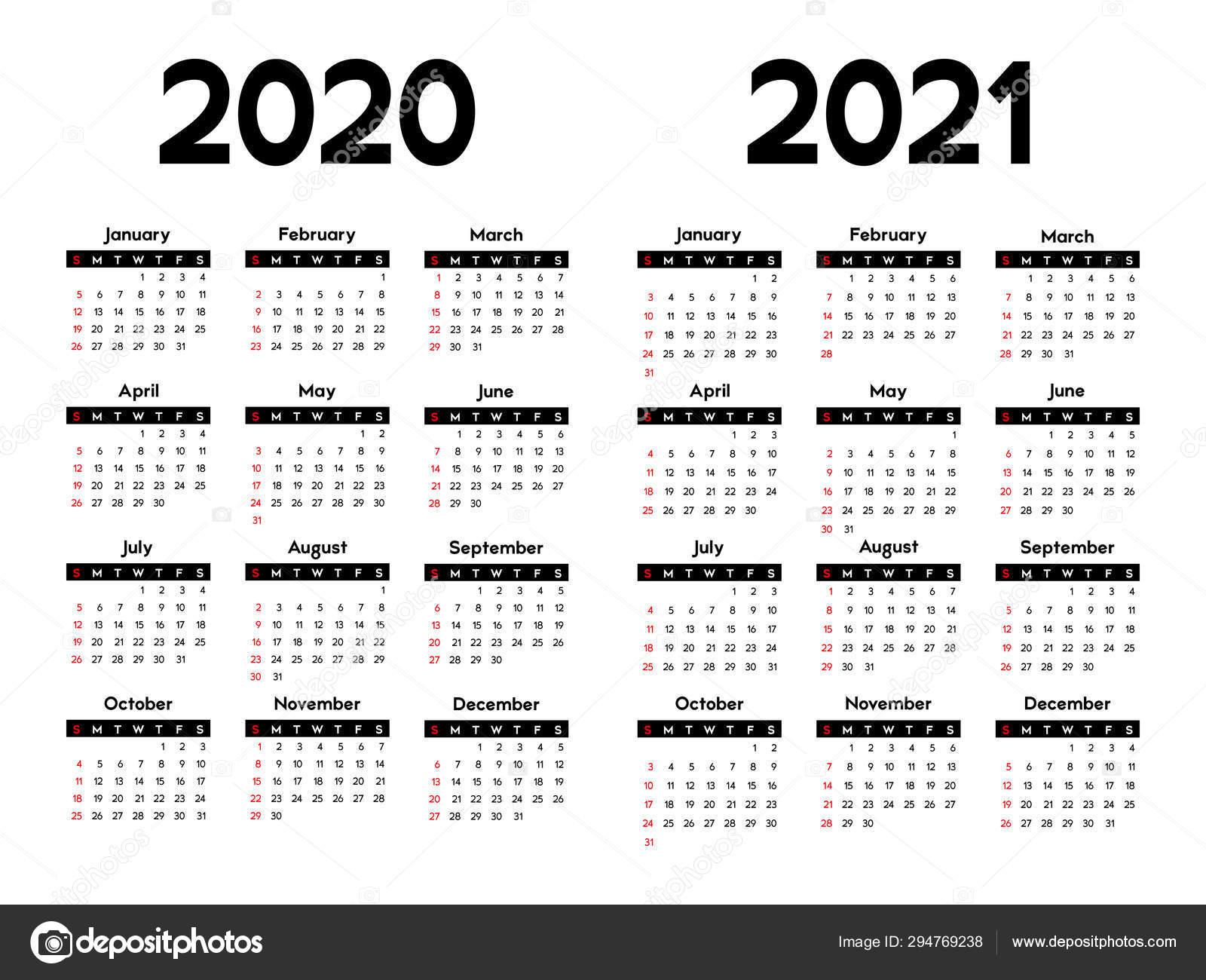 Calendar 2020 2021 Week Starts Sunday Basic Business ...