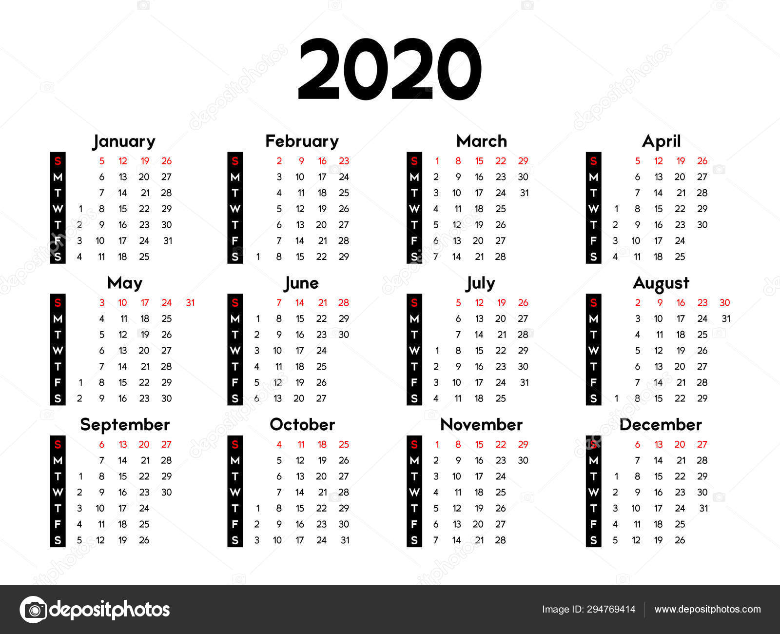 Calendar 2020 Week Starts Sunday Basic Business Template ...