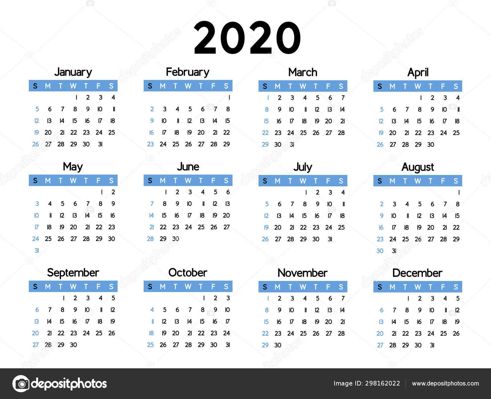 Calendario 2020 Semanas.Calendario 2020 Semana Comeca Domingo Modelo Negocio Basico