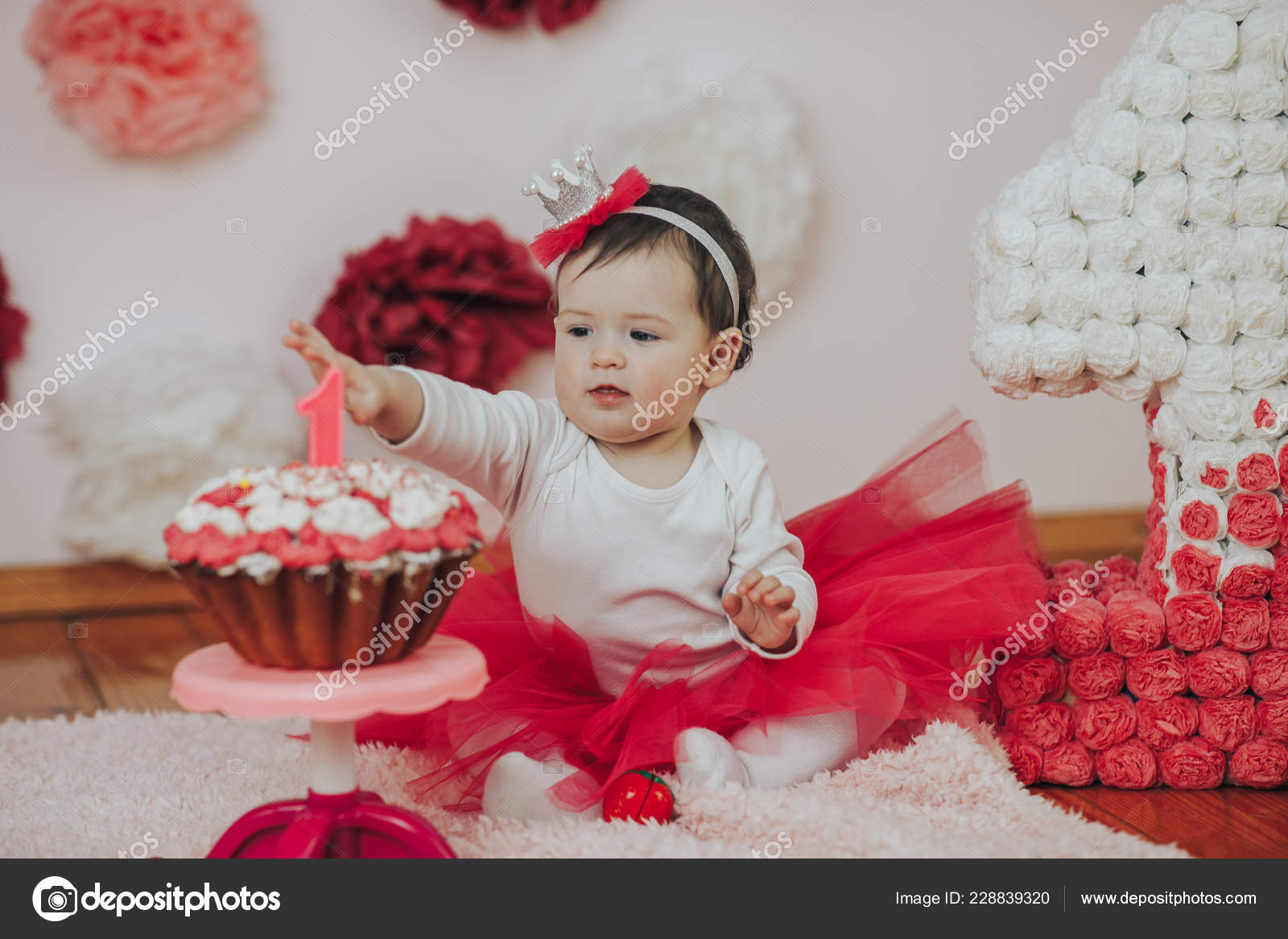 Tremendous Curious Baby Girl Poking Finger In His First Birthday Cake Stock Personalised Birthday Cards Veneteletsinfo