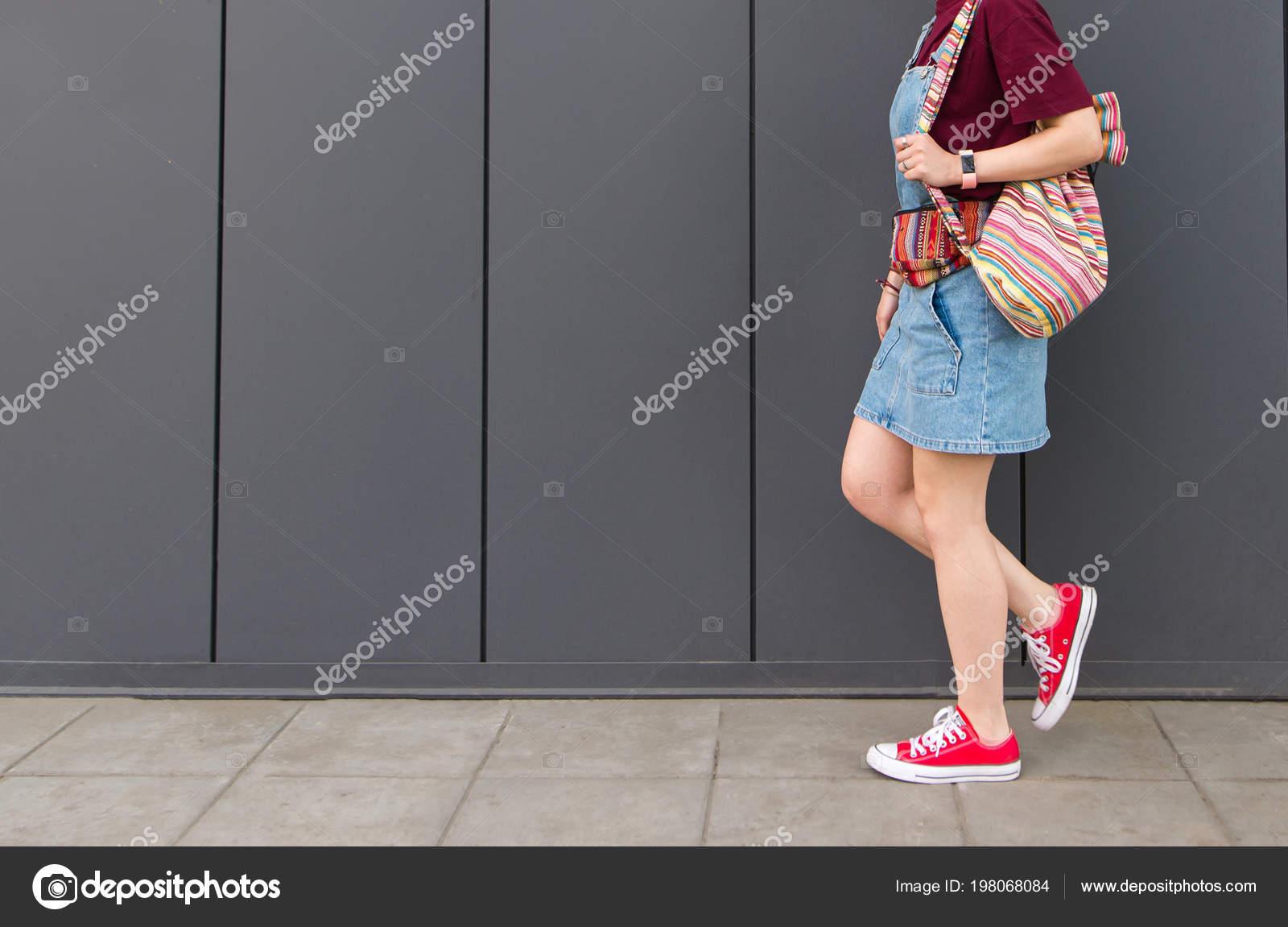 Girl Legs Red Sneakers Backpack Denim