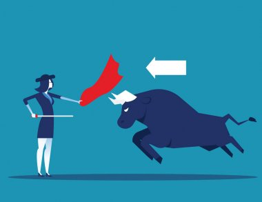 Matador and bull fighting. Concept business vector illustration.