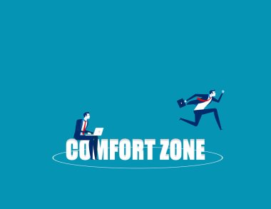 Business person jumping out comfort zone. Concept business vecto
