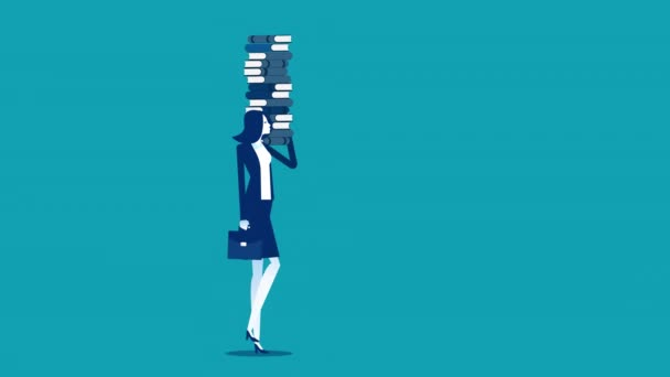 Businesswoman holding books. Footage