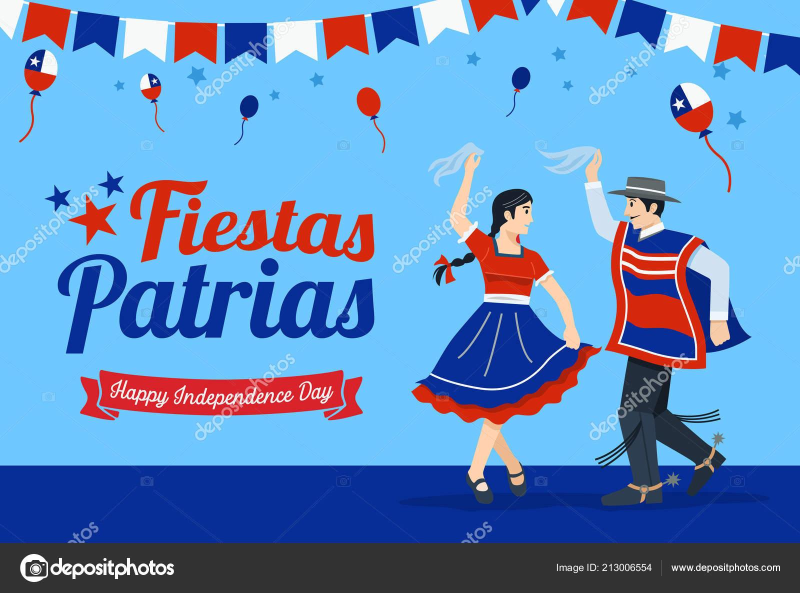 Fiestas Patrias Celebración Día Independencia Frase Española