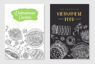 Vietnamese food flyer design. Linear graphic. Vector illustration. Engraved style.