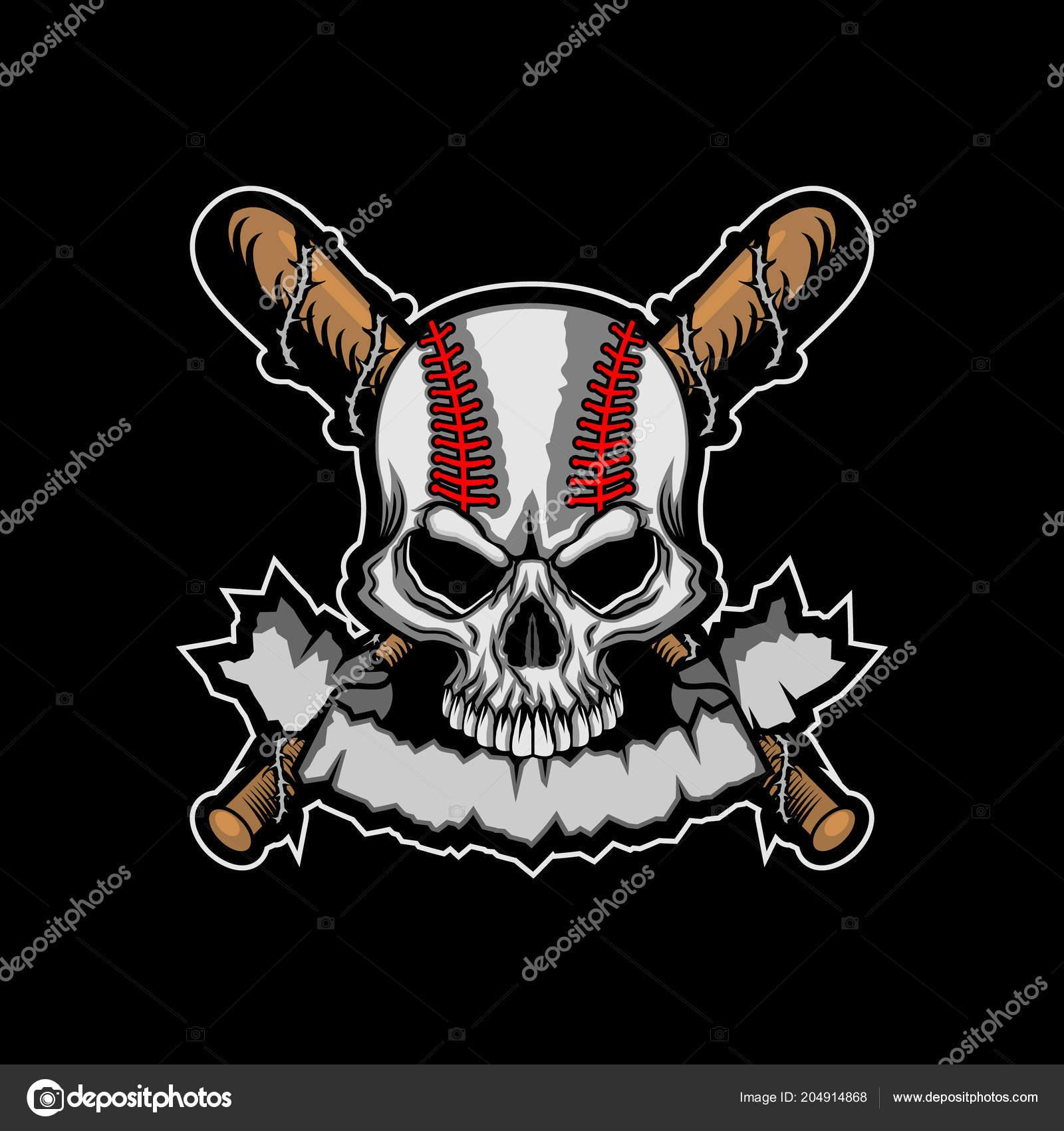 Baseball Skull Banner Template Vector Illustration Stock Vector