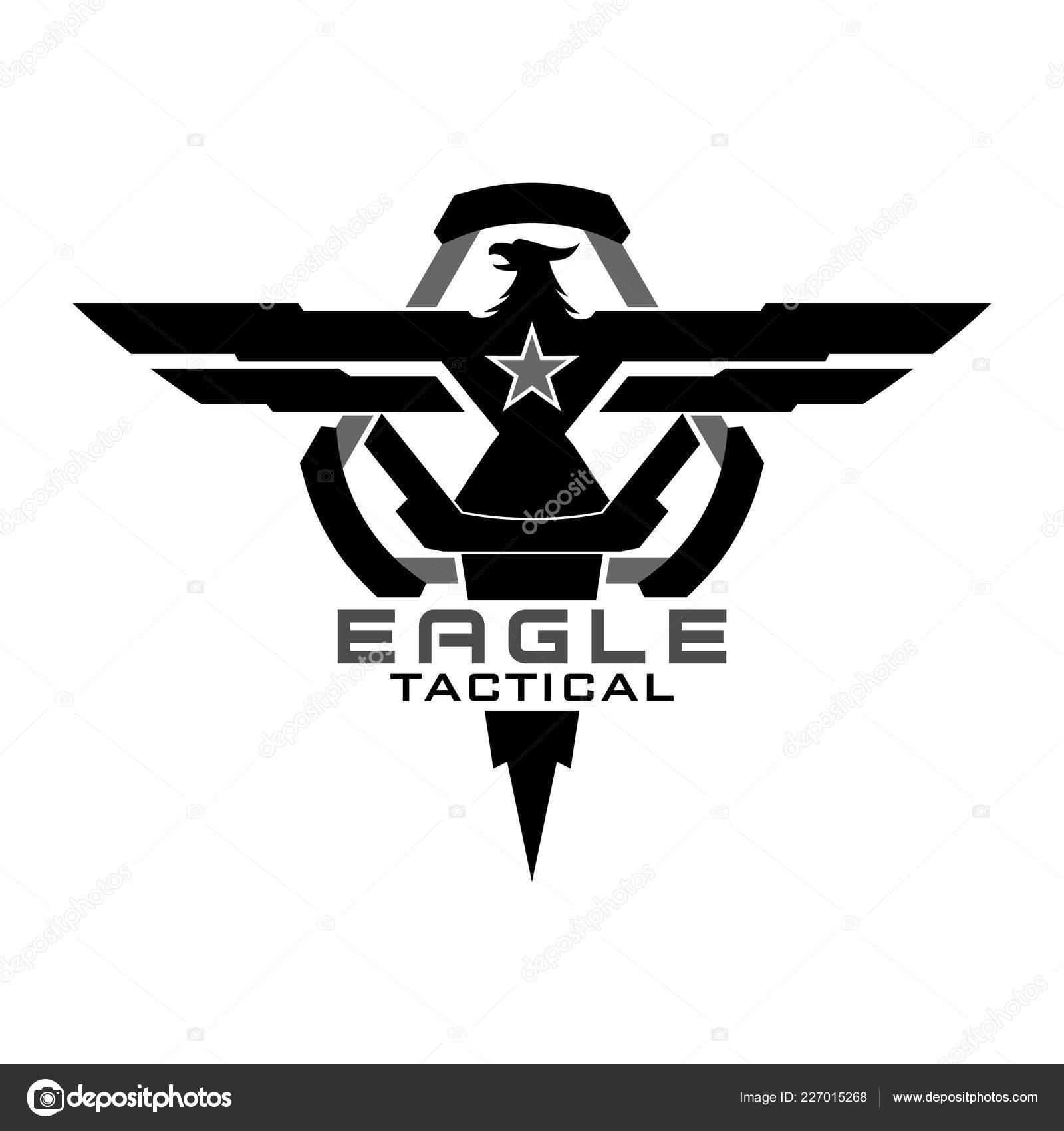 Eagle Tactical Logo Design Illustration — Stock Vector
