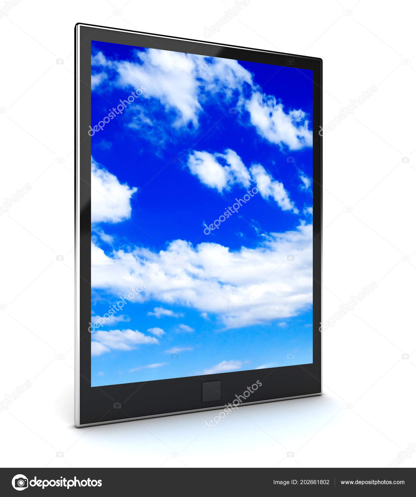 Tablet Pc Con Cielo Blu Su Sfondo Bianco Foto Stock Sirgunchik