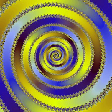 Energy Mandala in yellow and blue Colors