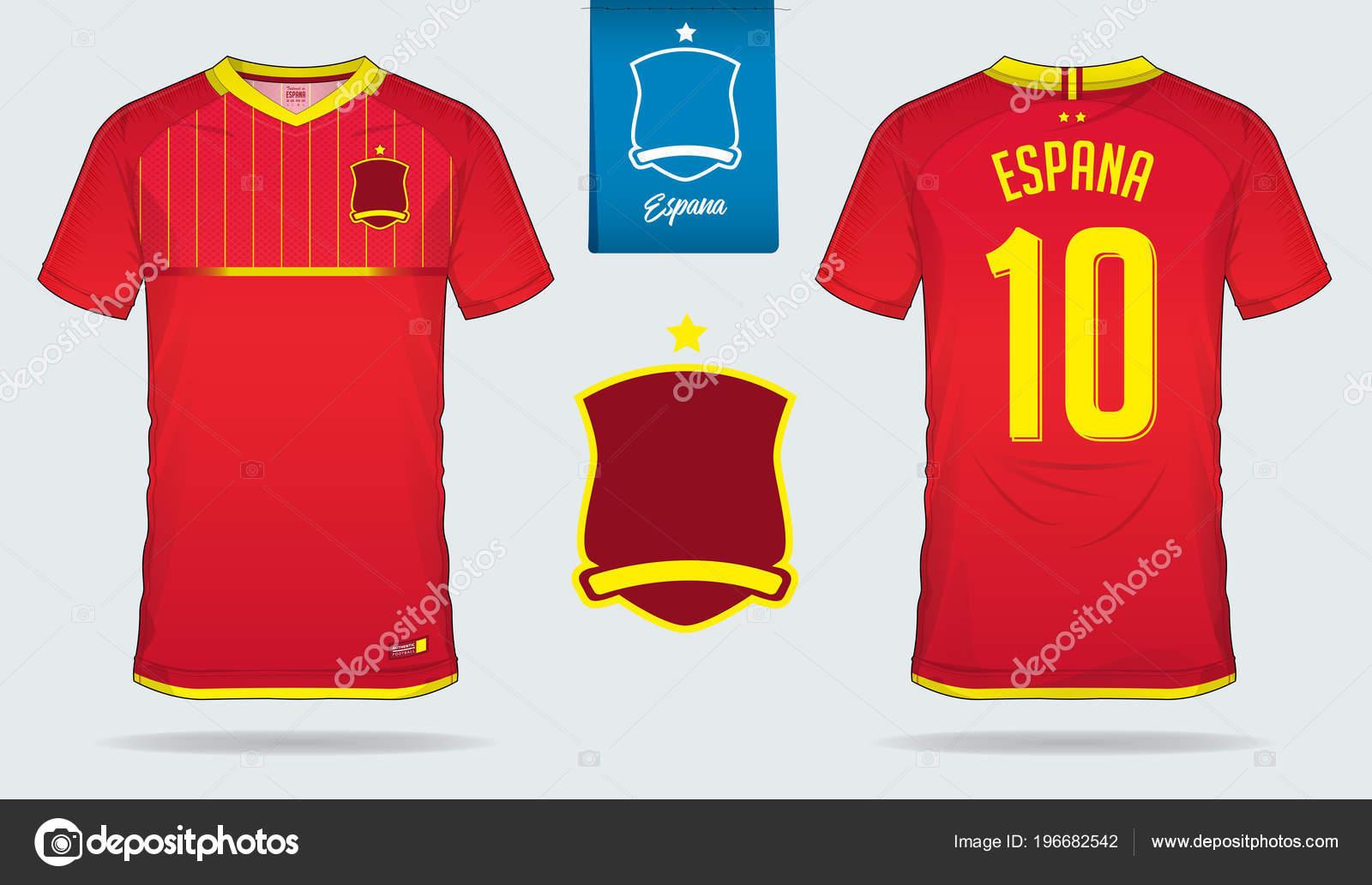 set soccer jersey football kit template design spain national