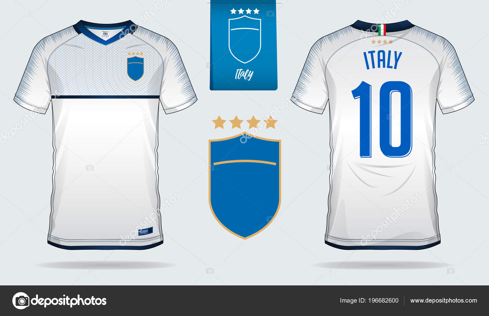 d3d8e016b Set of soccer jersey or football kit template design for Italy national football  team. Front and back view soccer uniform. Football t shirt mock up. Vector  ...