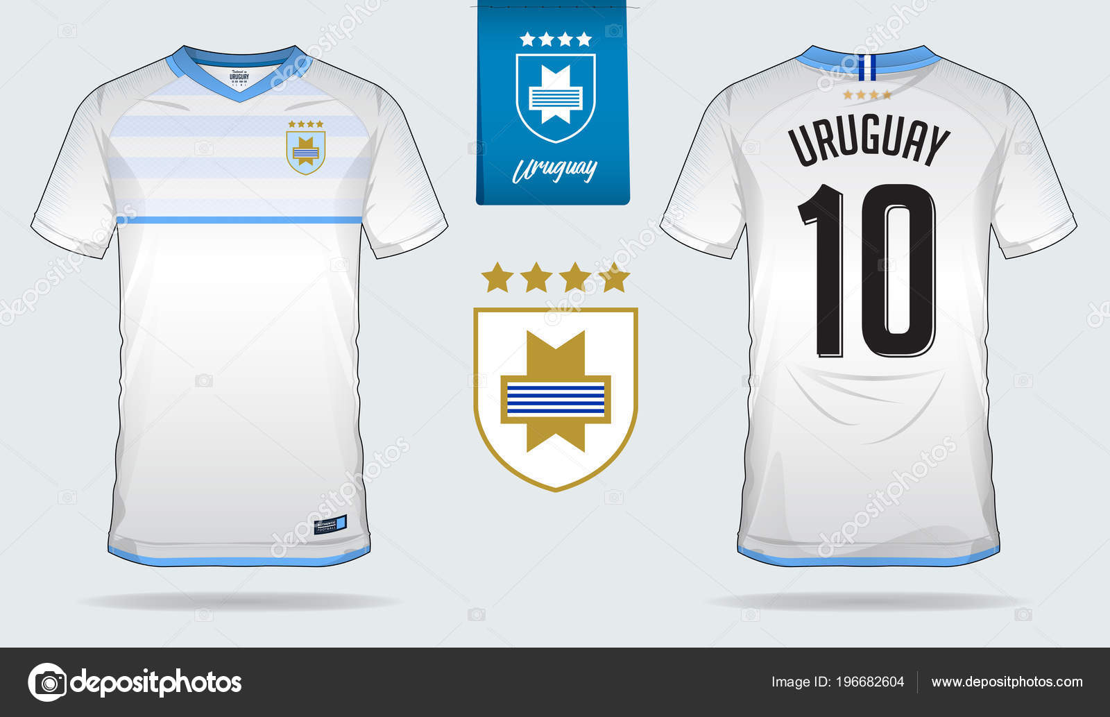 d542d999c74 Set of soccer jersey or football kit template design for Uruguay national  football team. Front and back view soccer uniform. Football t shirt mock up.