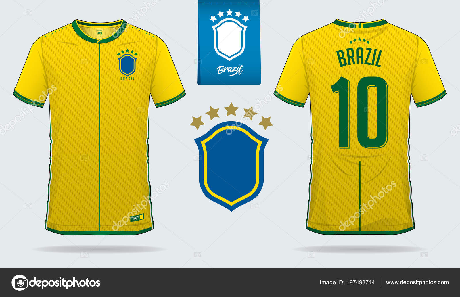 58509f026 Set of soccer jersey or football kit template design for Brazil national football  team. Front and back view soccer uniform. Football t shirt mock up. Vector  ...