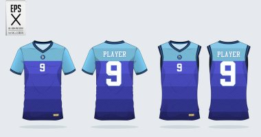 Blue stripe Pattern t-shirt sport design template for soccer jersey, football kit and tank top for basketball jersey. Sport uniform in front and back view. T shirt mock up for sport club. Vector Illustration.