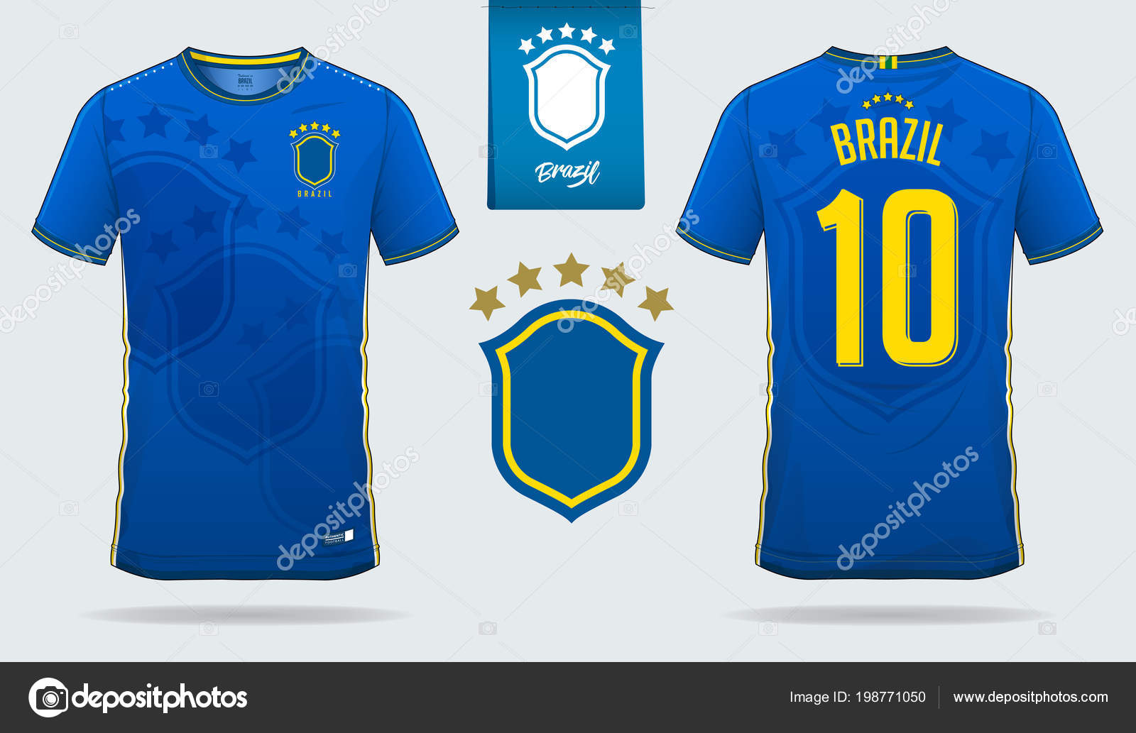 fbc78c54154 Soccer Jersey Football Kit Template Design Brazil National Football Team — Stock  Vector