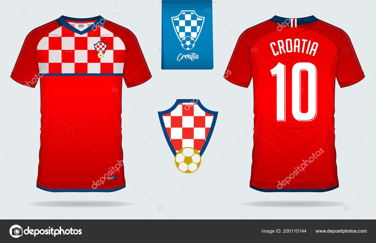 Soccer Jersey Football Kit Template Design Croatia National Team Stock Vector