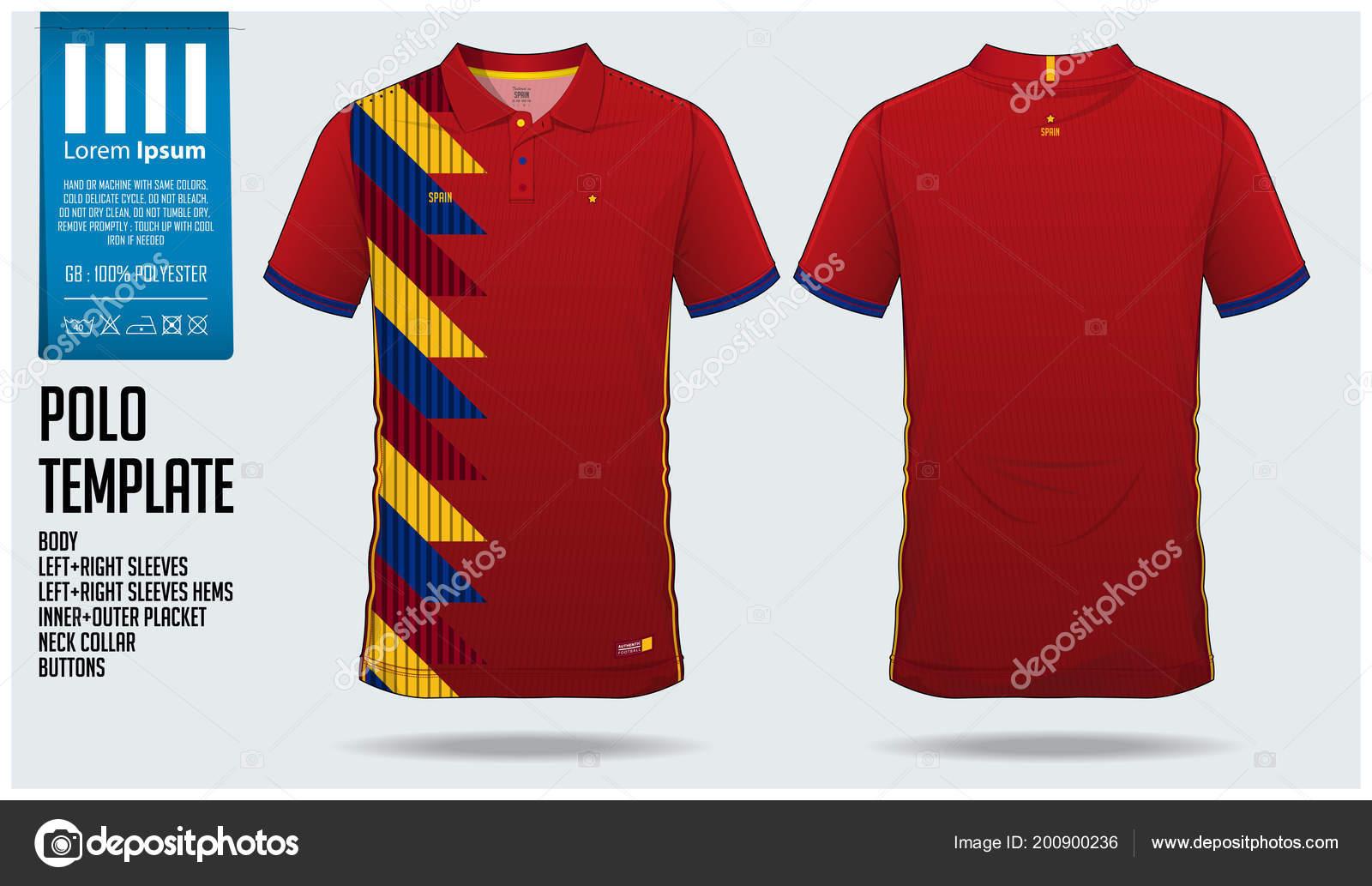 Spain Team Polo Shirt Sport Template Design Soccer Jersey Football