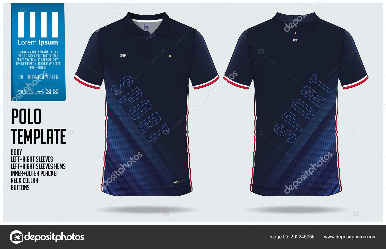 Polo Shirt Template | Blue Polo Shirt Sport Template Design Soccer Jersey Football Kit