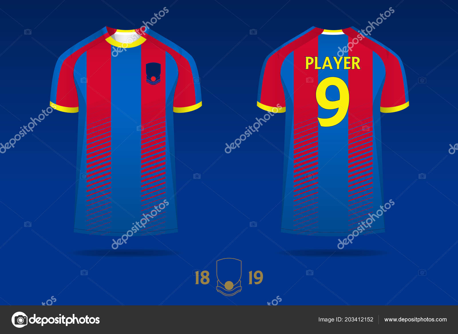 Soccer Jersey Football Kit T Shirt Sport Template Design For English Club Mock Up Front And Back View Uniform