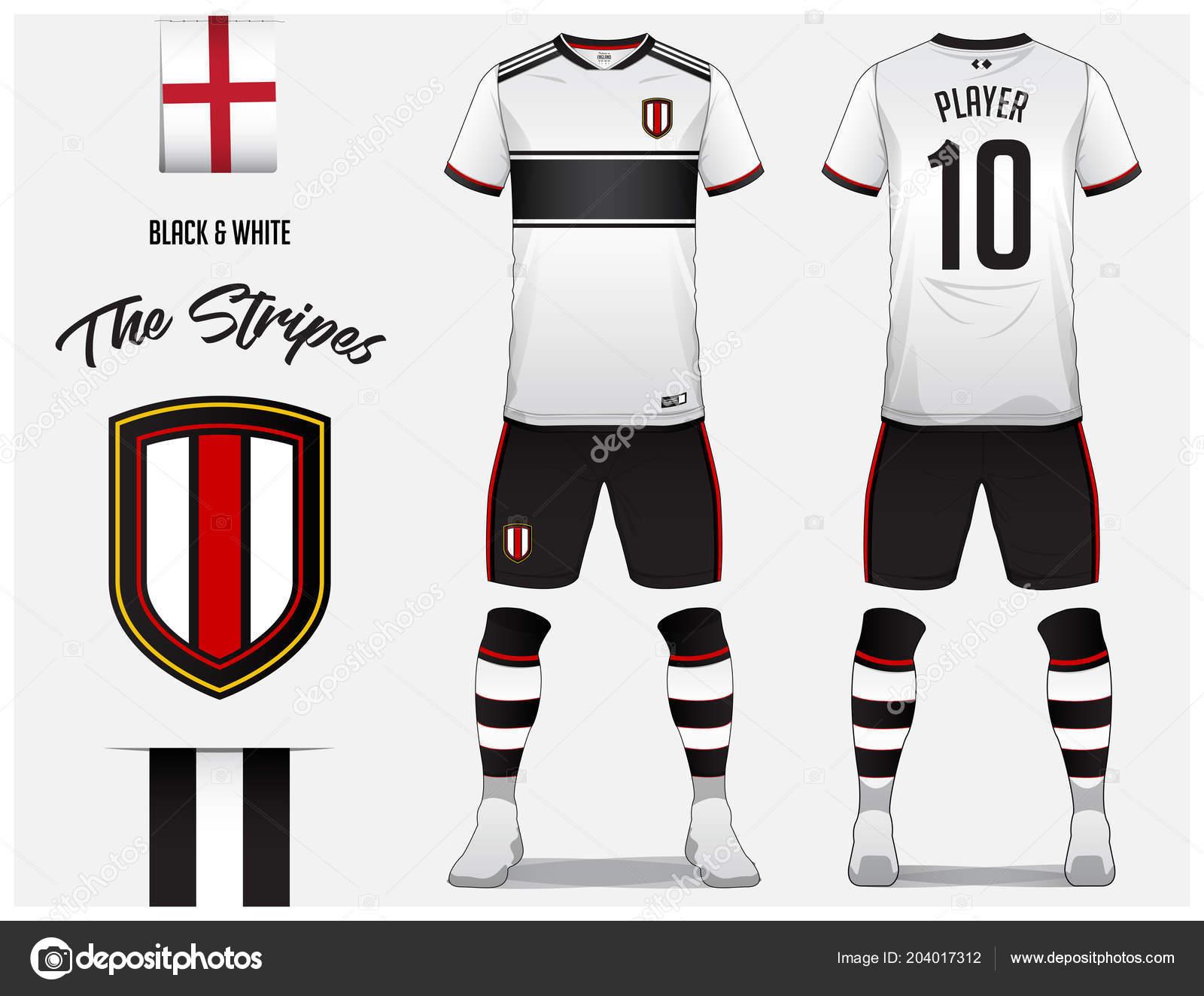 Fútbol jersey fútbol kit plantilla o para club de fútbol. Blanco y negro y  camiseta de fútbol con el calcetín de rayas corto simulado para arriba. 632810f5e2693