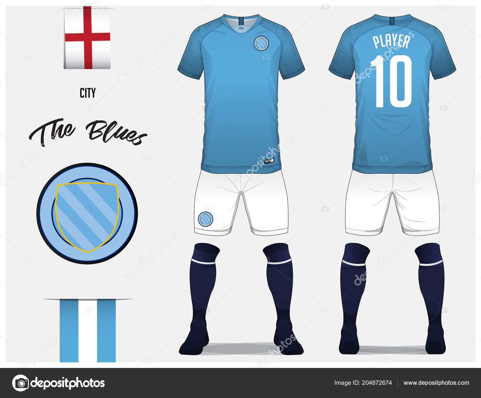 Soccer Jersey Or Football Kit Template For Club Blue Shirt With Dark Sock And White Shorts Mock Up Front Back View