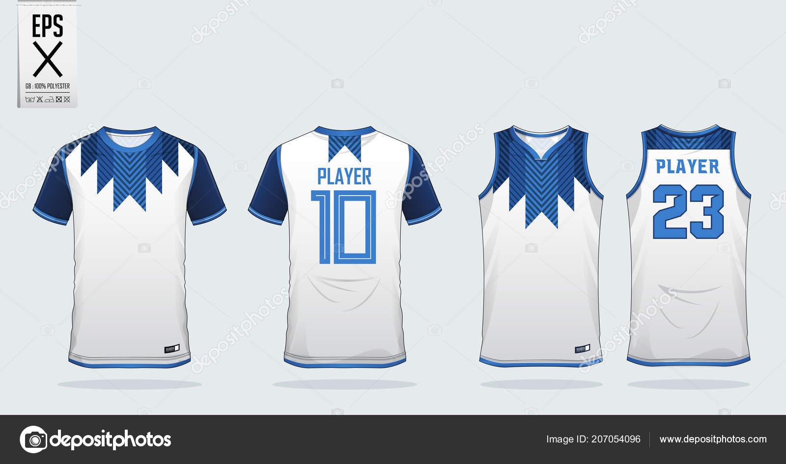 Blue White Shirt Sport Design Template Soccer Jersey
