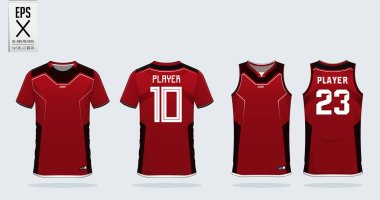 Red and Black t-shirt sport design template for soccer jersey, football kit and tank top for basketball jersey. Sport uniform in front and back view. Sport shirt mock up for sport club. Vector Illustration.