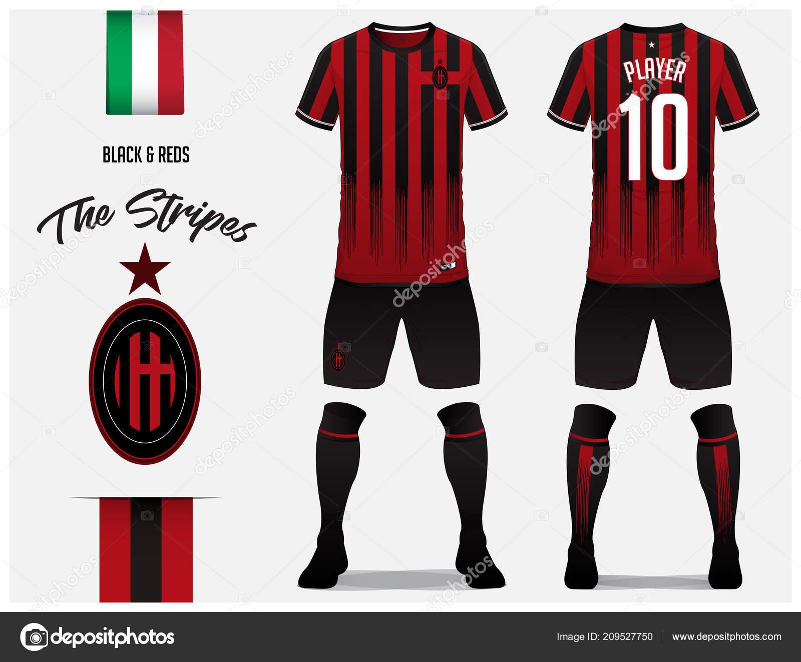 soccer jersey football kit template football club red black stripe
