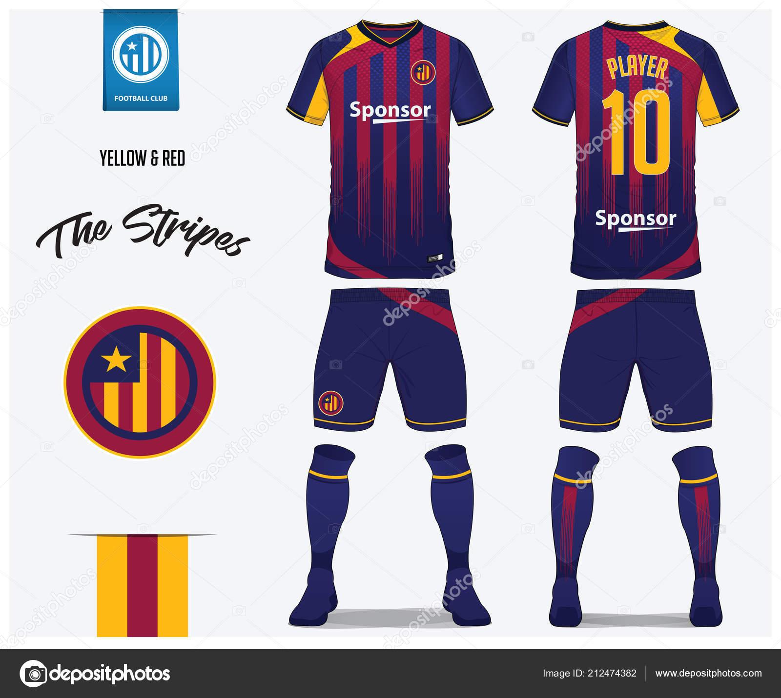 Fútbol jersey fútbol kit plantilla o para club de fútbol. Camiseta de fútbol  de rayas rojo y azul con azul y calcetines cortos imitan para arriba. 3f1e3d00509fd