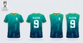 Blue and green gradient T-shirt sport design template for soccer jersey, football kit. Tank top for basketball jersey. Sport uniform in front and back view. Sport shirt mock up for sport club. Vector Illustration.