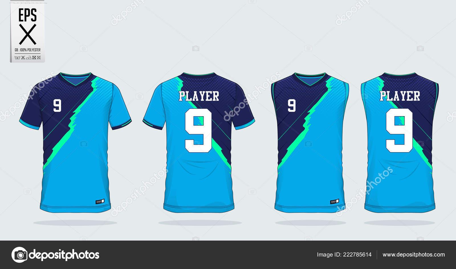 Blue Shirt Sport Design Template Soccer Jersey Football Kit Tank