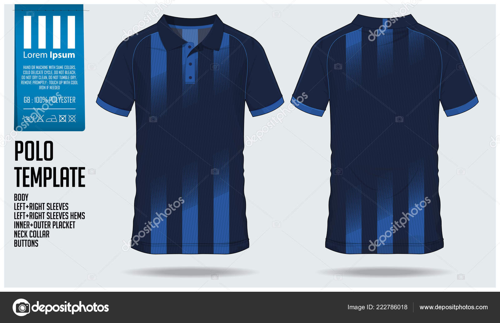 Blue Polo Shirt Sport Template Design Soccer Jersey Football