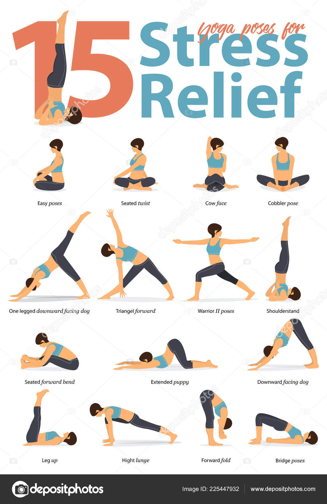 Set Yoga Postures Female Figures Infographic Yoga Poses Stress Relieve Stock Vector C Tond Ruangwit Gmail Com 225447932