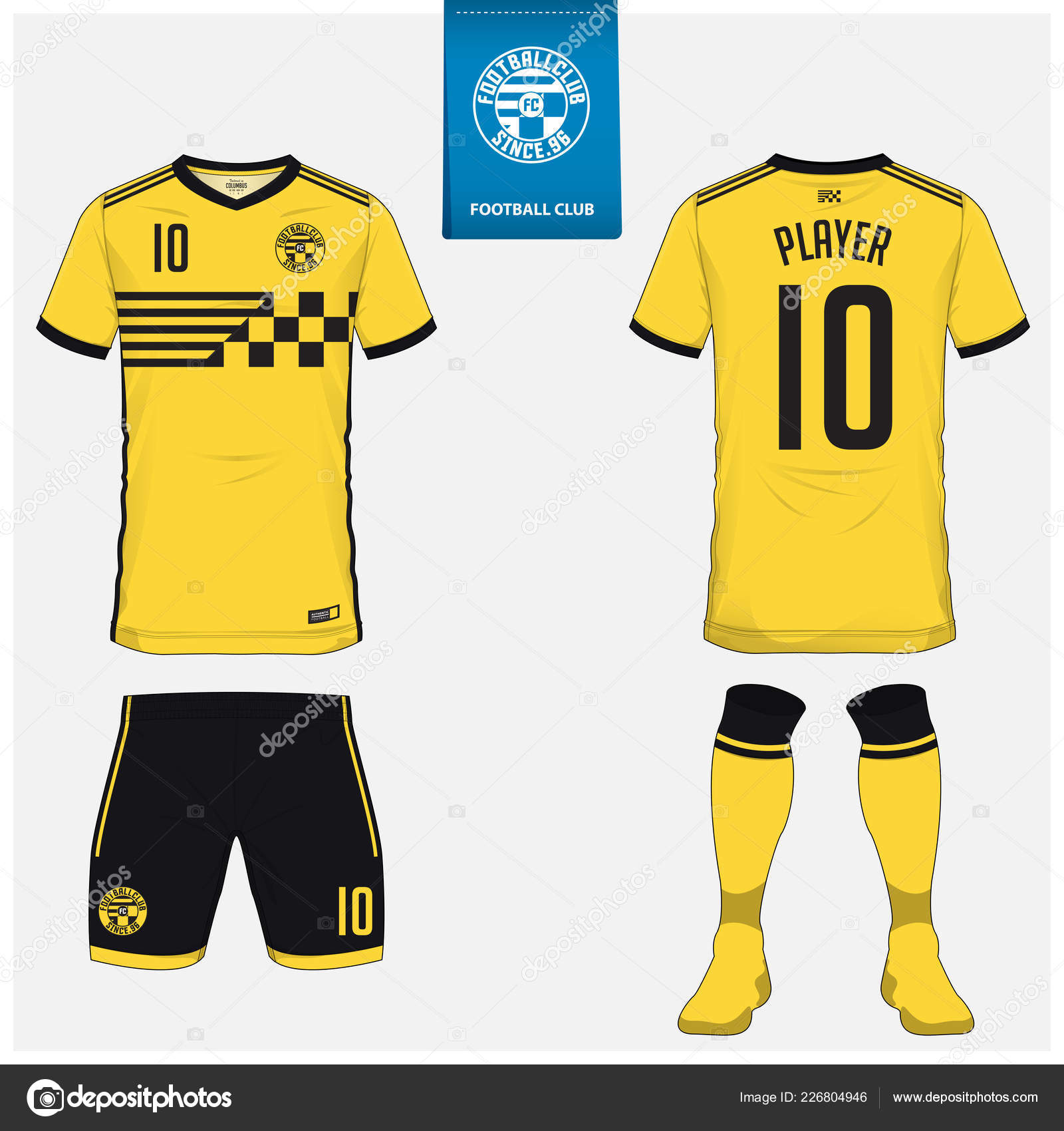 aa19bfbfb Soccer jersey or football kit, shorts, sock, template design for soccer club.  Sport t-shirt mock up. Front and back view soccer uniform.