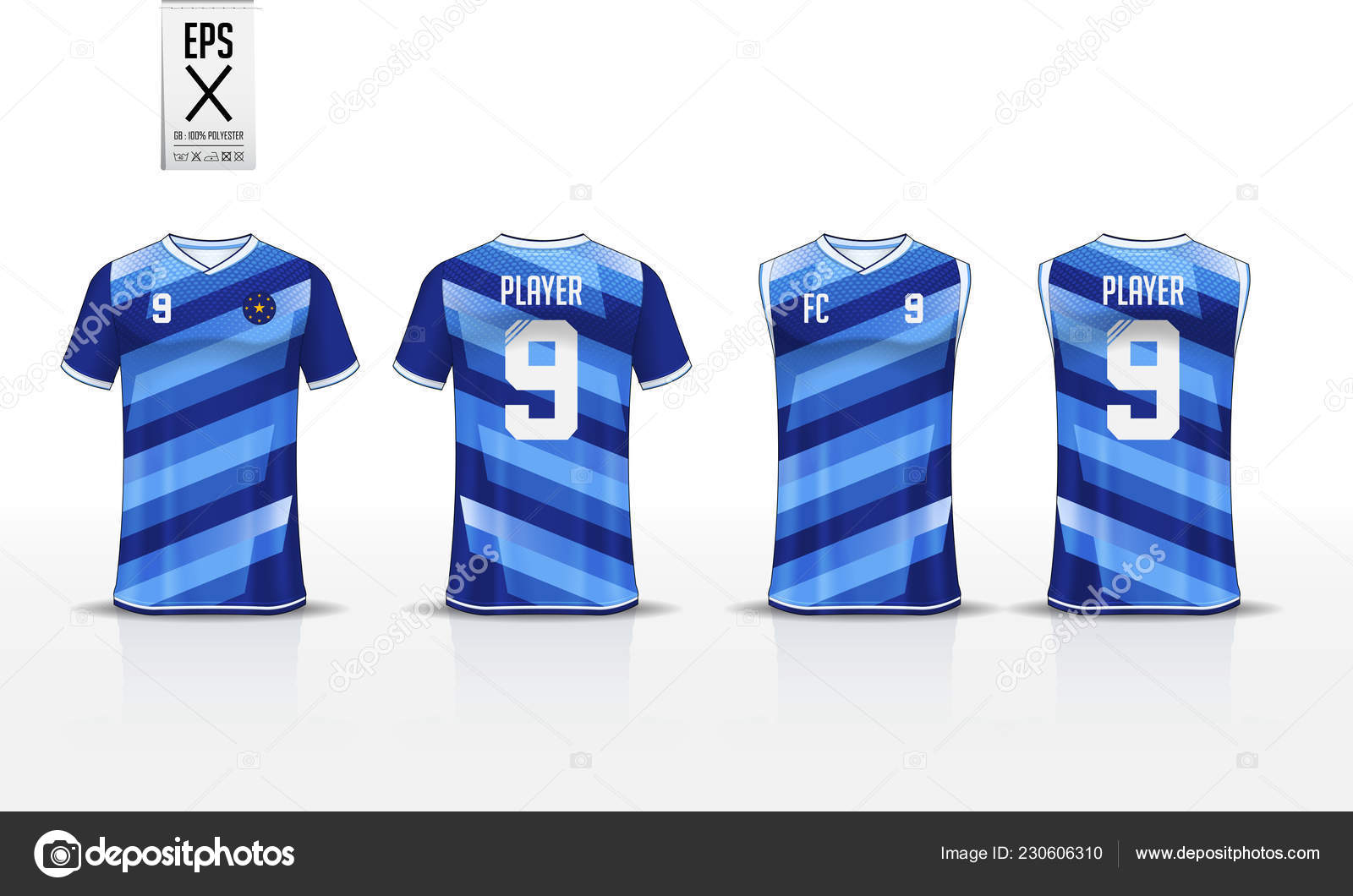 Blue Stripe Pattern T Shirt Sport Template Design For Soccer Jersey