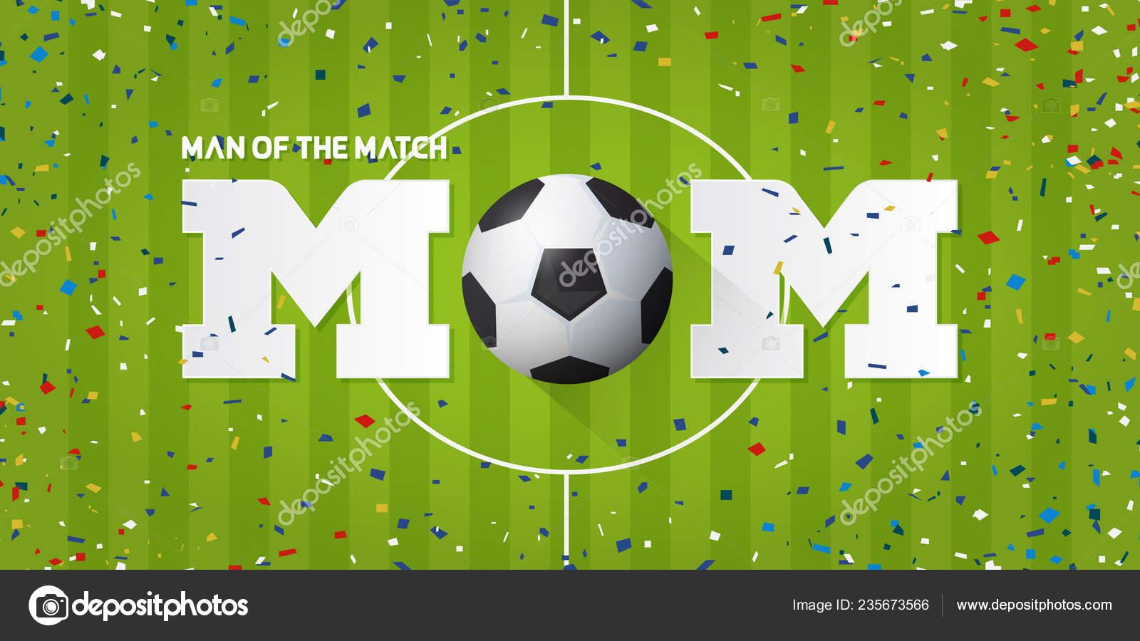 Hombre de la bandera del partido con confeti de bola y el papel de fútbol  sobre fondo de campo de fútbol. Diseño de plantilla en fútbol o fútbol  concepto de ... aa293044f278b