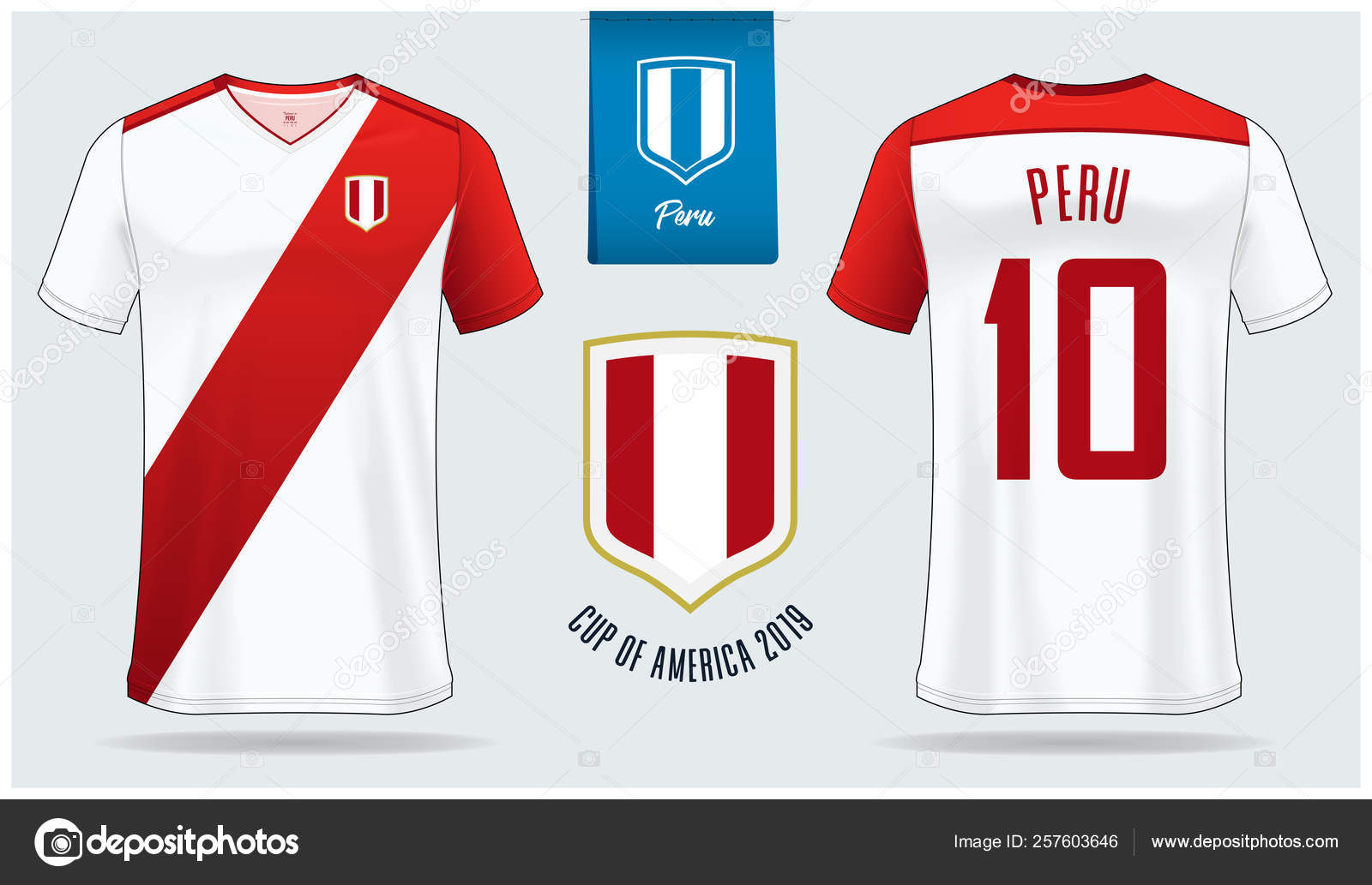 74d19479e Vector Illustration– stock illustration. Set of soccer jersey or football  kit mockup template design for Peru national football team.