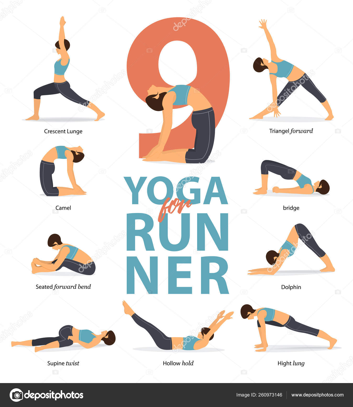 Set of yoga postures female figures Infographic . 50 Yoga poses for ...