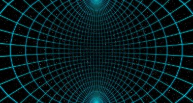 Wireframe of virtual empty curved cyberspace reality room with stars on black background, 3d illustration