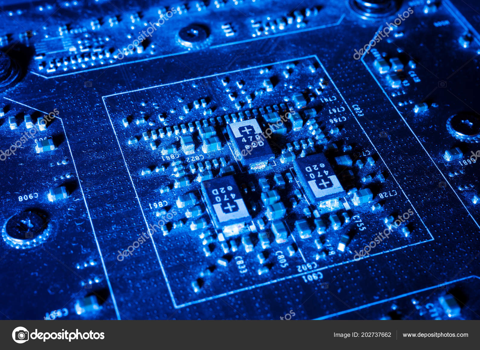 Electronic Circuits Futuristic Technology Concept Mainboard Computer Integrated Used As Background Royalty Free Stock Photos Blue Abstract Photo